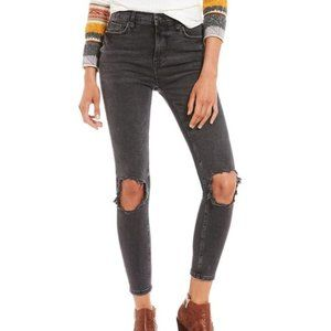 High rise skinny busted knee jeans